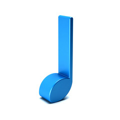 Musical Note isolated in white background. 3D rendering illustration