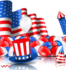 American Background with Balloons, Party Hats, Firework Rocket, Flag and Confetti