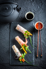 Fresh spring rolls with soy sauce