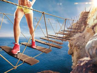 3D Rendering of trip on a crumbling bridge