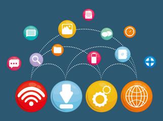 Multimedia icon set. Social media design. vector graphic