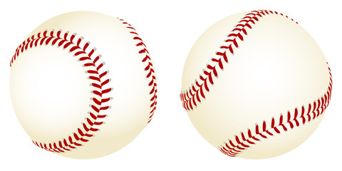 Vector illustration of baseballs from two different angles. Wall mural