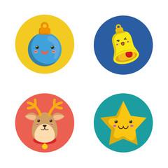 Kawaii icon set. Merry Christmas design. vector graphic