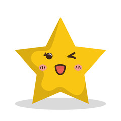 Kawaii star icon. Merry Christmas design. vector graphic