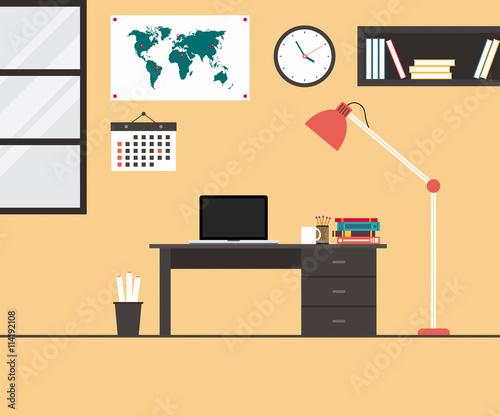 Modern office interior flat design vector illustration for Descargar embroidery office design 7 5 full