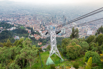 Aerial tramway leading up to Monserrate Mountain with Bogota, Colombia in the background