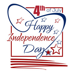 Independence Day lettering card. 4th of July. Happy Independence Day. Typographic design. Vector red and blue lettering on a white background.