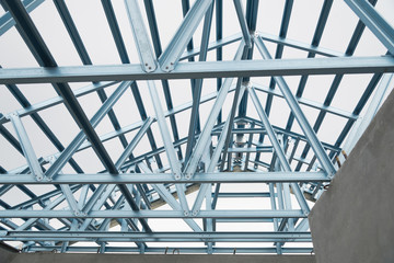 Structure of steel roof.