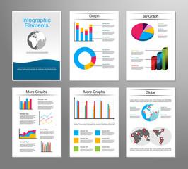 Business statistics infographic elements. Brochure design template. Flyer design template.