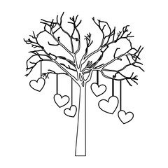 tree with hanging hearts isolated icon design