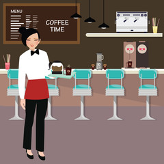 cafe waitress holding coffee serve with interior of the restaurant behind like stall and menu