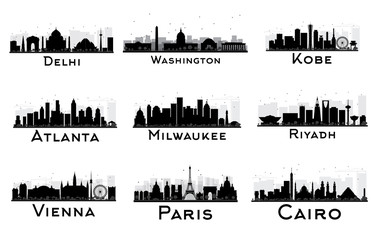 Set of City Skyline Black and White Silhouette.