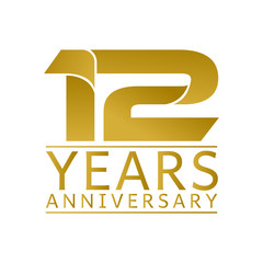 Simple Gold Anniversary Logo Vector Year 12