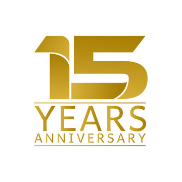 Simple Gold Anniversary Logo Vector Year 15