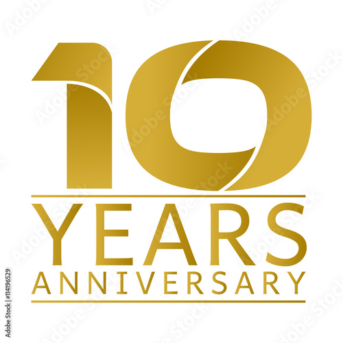 10 years logo quot simple gold anniversary logo vector year 10 quot stock image 685
