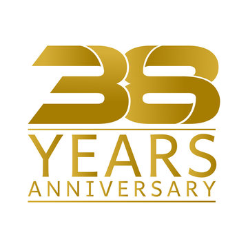 Simple Gold Anniversary Logo Vector Year 38