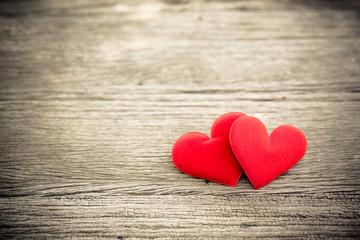 Love valentine heart on wood background