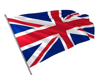 Flag of UK waving in the wind