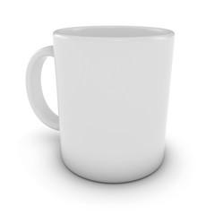 Blank White Mug Isolated on White Background 3D Illustration