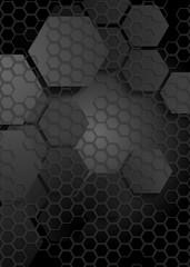 Tech geometric black background with hexagon texture