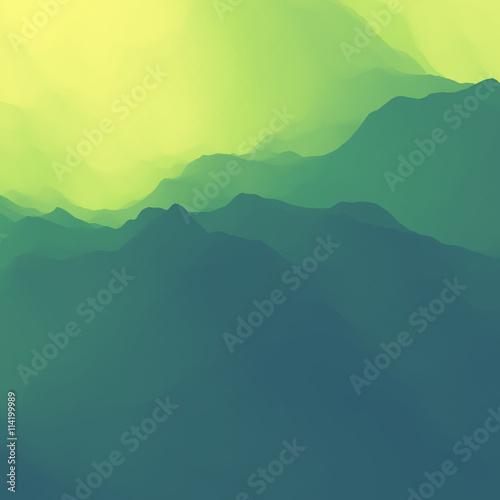 mountains backgrounds. Mountain Landscape. Mountainous Terrain. Design. Vector Silhouettes Of Mountains Backgrounds. Sunset Backgrounds