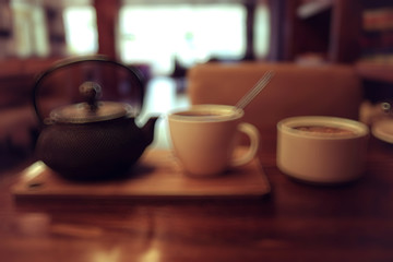 blurred background coffee tea cup teapot