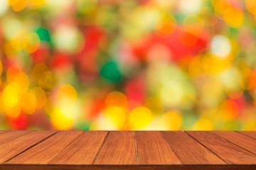 Wood table top on shiny sunlight bokeh background. for display or montage products