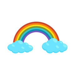 Rainbow and clouds icon, cartoon style