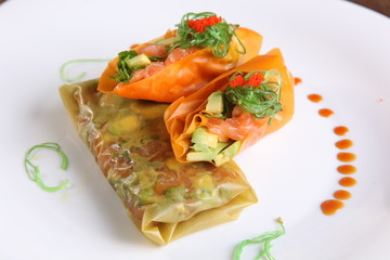 spring rolls with vegetables in Oriental style
