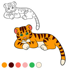 Coloring page. Color me: tiger. Little cute baby tiger smiles.