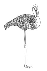 Black and white decorative flamingo.