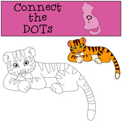 Educational games for kids: Connect the dots. Little cute baby tiger.