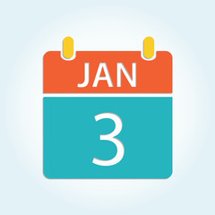 Colorful calender icon - Jan 3