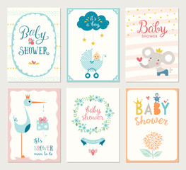 Set of 6 baby shower cards with floral wreath, frames, elephant, baby carriage, baby boy, decorative flowers, stars, stork, gift box and hand lettering.