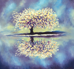 Flowering beautiful Sakura reflected in water on abstract background. Hand made oil painting on canvas. Impressionism art. Blooming Sakura artwork