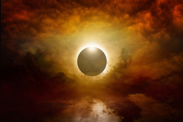 Wall Mural - Full sun eclipse in dark red sky, end of world