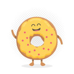 Kids restaurant menu cartoon cardboard character. Funny cute donut drawn with a smile, eyes and hands.