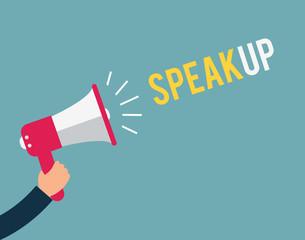 Speak up megaphone message at loud. concept illustration design