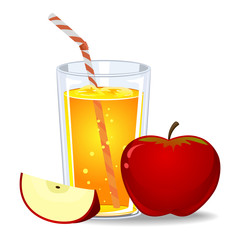 Vector Illustration of Red Apple Juice
