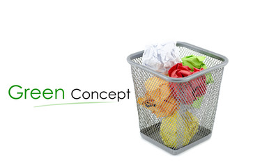 """conceptual image with word """"GREEN CONCEPT"""" over crumple paper in metal dustbin and isolated white background"""