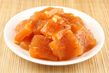 Slices of  famous Indian sweet Halwa.