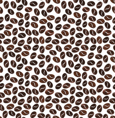 Seamless pattern of grains of coffee on a white background.