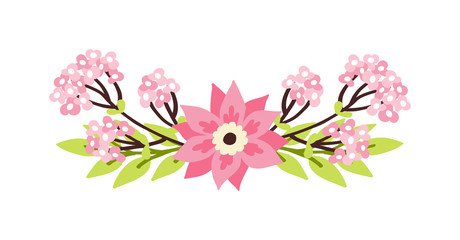 Nature flowers wreath with flowers decoration