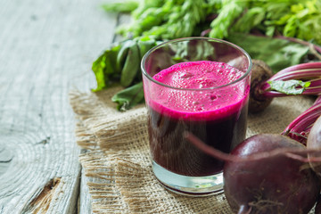 Beet root juice in glass