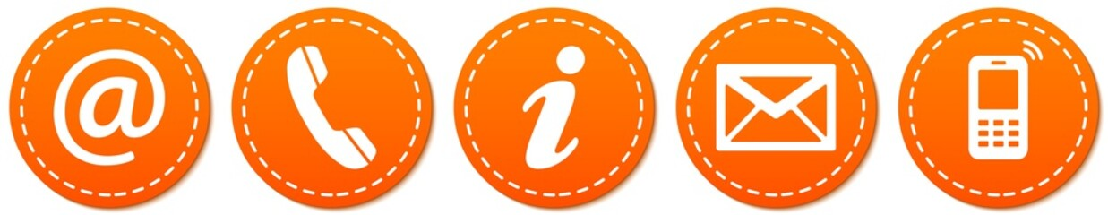Contact Us – Round orange sticker buttons with dashed line