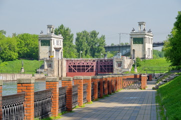 The embankment of the canal named after Moscow. The gateway No. 8 in Shchukino, Moscow, Russia