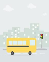 cartoon school bus in the city