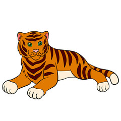 Cartoon wild animals for kids: Tiger. Cute tiger lays and smiles