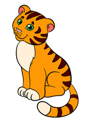 Cartoon wild animals for kids: Tiger. Little cute baby tiger smiles.