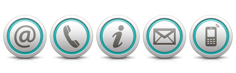 Contact Us – Set of light gray buttons with reflection & strong cyan
